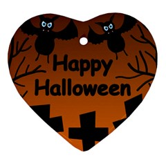 Happy Halloween - bats on the cemetery Ornament (Heart)