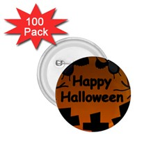 Happy Halloween - bats on the cemetery 1.75  Buttons (100 pack)