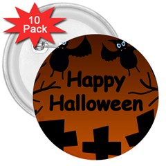 Happy Halloween - bats on the cemetery 3  Buttons (10 pack)