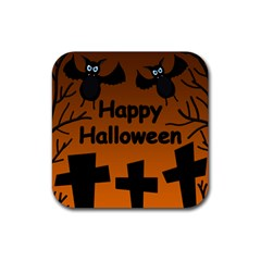 Happy Halloween - bats on the cemetery Rubber Square Coaster (4 pack)