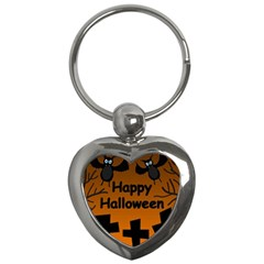 Happy Halloween - bats on the cemetery Key Chains (Heart)