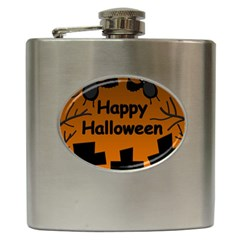 Happy Halloween - bats on the cemetery Hip Flask (6 oz)