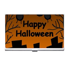 Happy Halloween - bats on the cemetery Business Card Holders