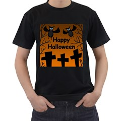 Happy Halloween - bats on the cemetery Men s T-Shirt (Black) (Two Sided)