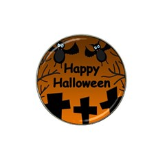 Happy Halloween - bats on the cemetery Hat Clip Ball Marker (10 pack)