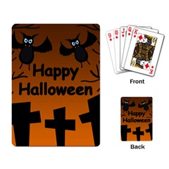 Happy Halloween - bats on the cemetery Playing Card