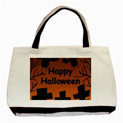 Happy Halloween - bats on the cemetery Basic Tote Bag