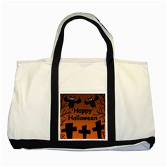 Happy Halloween - bats on the cemetery Two Tone Tote Bag