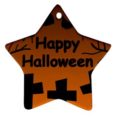Happy Halloween - bats on the cemetery Star Ornament (Two Sides)