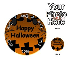 Happy Halloween - bats on the cemetery Playing Cards 54 (Round)