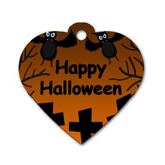Happy Halloween - bats on the cemetery Dog Tag Heart (One Side)