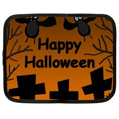 Happy Halloween - bats on the cemetery Netbook Case (Large)