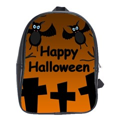 Happy Halloween - bats on the cemetery School Bags(Large)