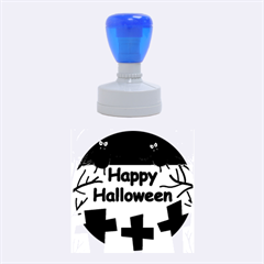 Happy Halloween - bats on the cemetery Rubber Round Stamps (Medium)