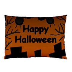 Happy Halloween - bats on the cemetery Pillow Case (Two Sides)