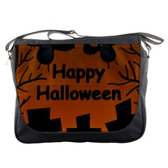 Happy Halloween - bats on the cemetery Messenger Bags