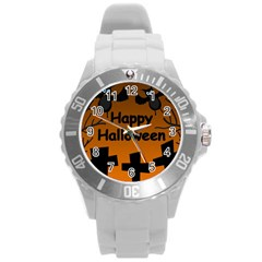 Happy Halloween - bats on the cemetery Round Plastic Sport Watch (L)