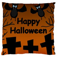 Happy Halloween - bats on the cemetery Large Cushion Case (Two Sides)