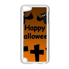 Happy Halloween - bats on the cemetery Apple iPod Touch 5 Case (White)