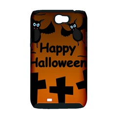 Happy Halloween - bats on the cemetery Samsung Galaxy Note 2 Hardshell Case (PC+Silicone)