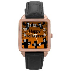 Happy Halloween - bats on the cemetery Rose Gold Leather Watch