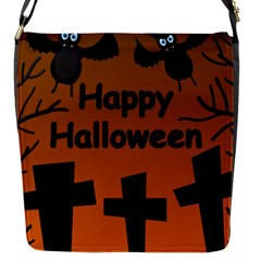 Happy Halloween - bats on the cemetery Flap Messenger Bag (S)