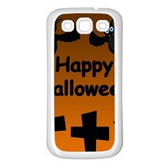 Happy Halloween - bats on the cemetery Samsung Galaxy S3 Back Case (White)