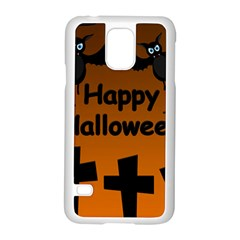Happy Halloween - bats on the cemetery Samsung Galaxy S5 Case (White)