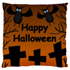 Happy Halloween - bats on the cemetery Large Flano Cushion Case (Two Sides)