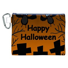 Happy Halloween - bats on the cemetery Canvas Cosmetic Bag (XXL)