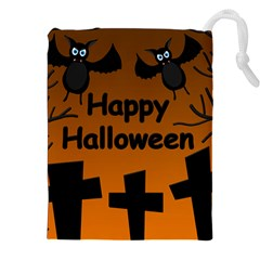 Happy Halloween - bats on the cemetery Drawstring Pouches (XXL)
