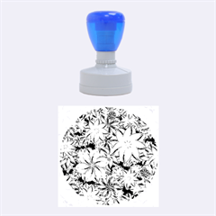 Vibrant Floral Collage Print Rubber Round Stamps (medium)
