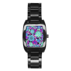 Vibrant Floral Collage Print Stainless Steel Barrel Watch