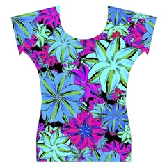 Vibrant Floral Collage Print Women s Cap Sleeve Top
