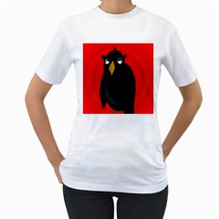 Halloween - old raven Women s T-Shirt (White) (Two Sided)