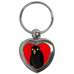 Halloween - old raven Key Chains (Heart)