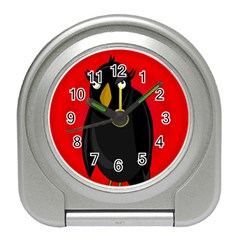 Halloween - old raven Travel Alarm Clocks