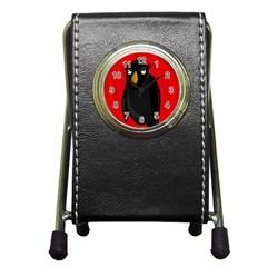 Halloween - old raven Pen Holder Desk Clocks