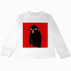 Halloween - old raven Kids Long Sleeve T-Shirts