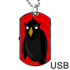 Halloween - old raven Dog Tag USB Flash (Two Sides)