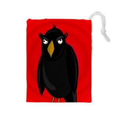 Halloween - old raven Drawstring Pouches (Large)