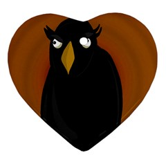 Halloween - old black rawen Heart Ornament (2 Sides)