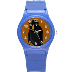 Halloween - old black rawen Round Plastic Sport Watch (S)