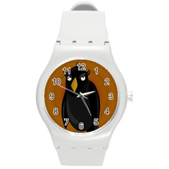 Halloween - old black rawen Round Plastic Sport Watch (M)