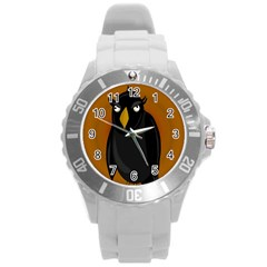 Halloween - old black rawen Round Plastic Sport Watch (L)