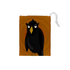 Halloween - old black rawen Drawstring Pouches (Small)