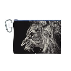 Angry Male Lion Canvas Cosmetic Bag (M)