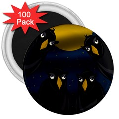 Halloween - black crow flock 3  Magnets (100 pack)