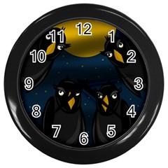Halloween - black crow flock Wall Clocks (Black)
