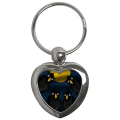 Halloween - black crow flock Key Chains (Heart)